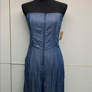 Strapless blue denim Rachel Roy pantsuit